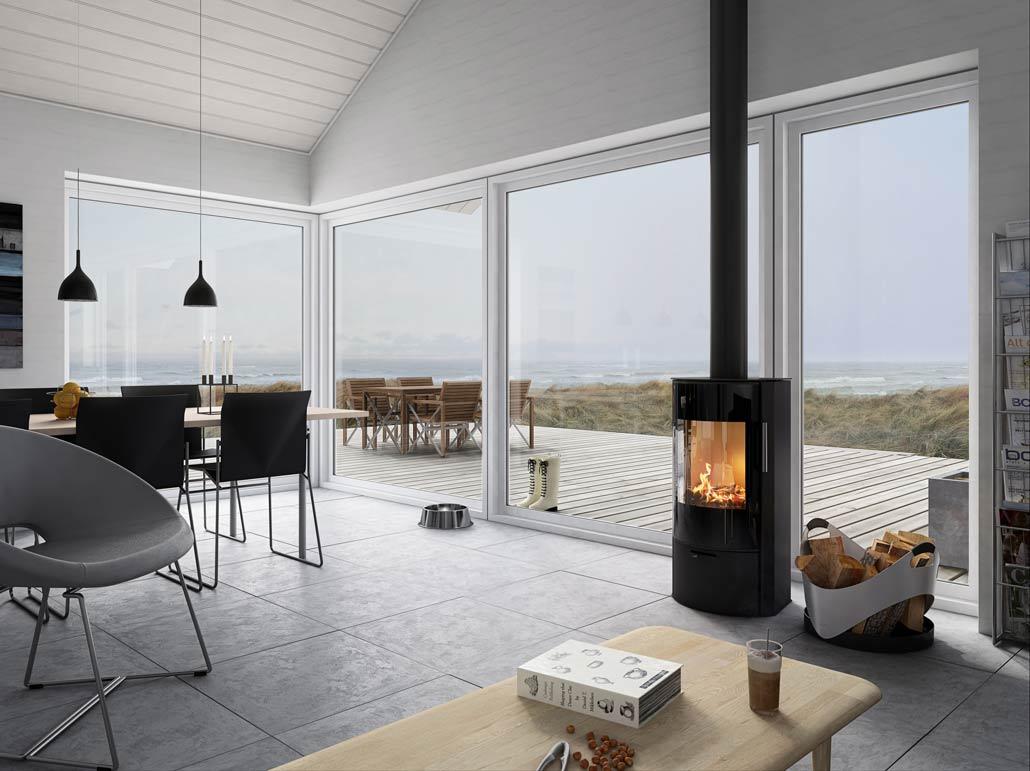 Braskamin i hus med havsutsikt - byggledarna.se